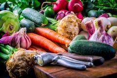 verdure Prodotto-verdure fresche di vegetables Fondo variopinto delle verdure Foto di verdure sana dello studio Assortimento degl Fotografia Stock