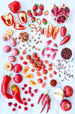 Verdure rosse e frutta dei prodotti freschi Immagini Stock Libere da Diritti