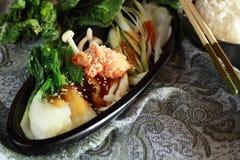Verdure salsa e riso Immagine Stock