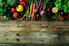 Verdure su fondo di legno Bio- alimento biologico, erbe e spezie sani Concetto crudo e vegetariano ingredienti immagini stock libere da diritti