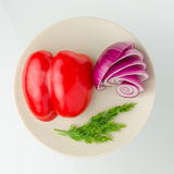 Verdure sul piatto Fotografia Stock