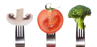 Verdure sull'accumulazione delle forcelle Immagini Stock