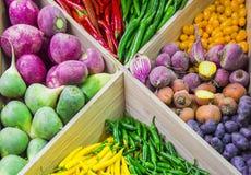 Verdure variopinte fresche sul contatore del deposito: pomodori ciliegia, rapa, patate, peperoncino, carota, barbabietola immagini stock libere da diritti