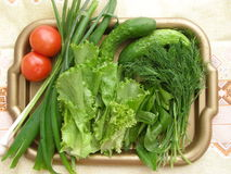 Verdure and vegetables on the tray. Royalty Free Stock Image
