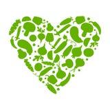 Verdure verdi nel cuore di forma Illustrazione di vettore illustrazione vettoriale