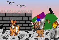 Verdwaalde Kattenochtend - Digitale Illustratie royalty-vrije illustratie
