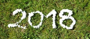 Verdwijnende nevel en voetbalschoenen op gras, 2018 Royalty-vrije Stock Fotografie