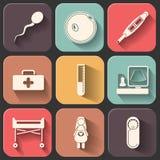 Verdwijnt het Pregnantcy vlakke die pictogram op kleur wordt geplaatst schaduweffect langzaam Stock Foto's