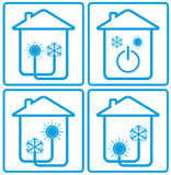 Veredelingsmiddel in huis met zon, sneeuwvlok en huis royalty-vrije illustratie