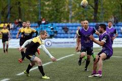 Verein-Meister ` s Rugby-Europas Sevens Trophäe in St Petersburg, Russland Stockbild