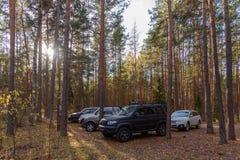 Verein nicht für den Straßenverkehr auf einer Reinigung im Wald stockfoto