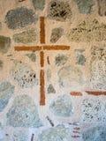 Vereinbarte foresacross unterzeichnen auf großartiger Meteorkirche im meteora greecet Hinterweg in Nationalpark Griechenlands Oly lizenzfreie stockbilder