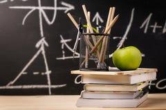 Vereinbarte Schullehrbücher und -versorgungen Lizenzfreie Stockbilder