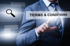 Vereinbarungs-Dienstleistungsunternehmen-Technologie-Internet-Konzept der allgemeinen Geschäftsbedingungen lizenzfreie stockfotos