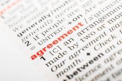 Vereinbarungs-Wort-Definition stockbilder