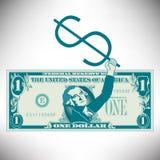 Vereinfachter und stilisierter Dollarschein Stockbild