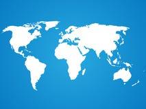Vereinfachtes weißes Weltkarteschattenbild auf blauem Hintergrund Stockfoto