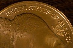 Vereinigen Sie Staaten von Amerika auf Büffel-Goldmünze Lizenzfreies Stockfoto
