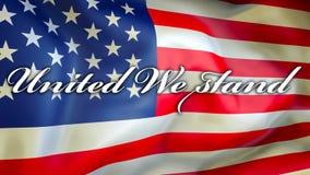 Vereinigt stehen wir auf einem USA-Flaggenhintergrund, Wiedergabe 3D Staaten von Amerika fahnenschwenkend im Wind Stolze amerikan vektor abbildung
