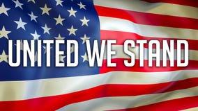 Vereinigt stehen wir auf einem USA-Flaggenhintergrund, Wiedergabe 3D Staaten von Amerika fahnenschwenkend im Wind Stolze amerikan stock abbildung
