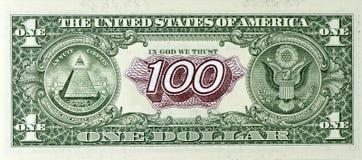 Vereinigte Anmerkungen ein Dollar und hundert Rubel Lizenzfreie Stockfotos