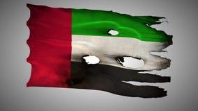 Vereinigte Arabische Emirate durchlöcherte, gebrannt, Flaggen-Schleifenalpha des Schmutzes wellenartig bewegendes stock footage