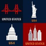 Vereinigte flache Ikonen des Zustandsmarksteins und -reise Lizenzfreie Stockfotos
