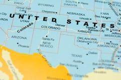 Vereinigte Staaten auf Karte Stockfoto