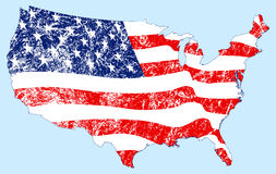 Vereinigte Staaten bilden Markierungsfahne mit Grunge ab Lizenzfreie Stockfotografie
