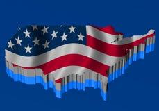 Vereinigte Staaten bilden mit Markierungsfahne über der Karte ab Stockfoto