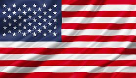 Vereinigte Staaten fahnenschwenkend mit dem Wind, Illustration 3D Lizenzfreies Stockbild
