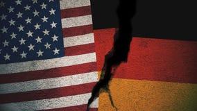 Vereinigte Staaten gegen Deutschland-Flaggen auf gebrochener Wand Lizenzfreie Stockfotografie