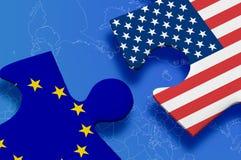 Vereinigte Staaten gegen Europa Stockfoto