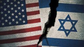 Vereinigte Staaten gegen Israel Flags auf gebrochener Wand Stockfotografie