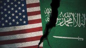 Vereinigte Staaten gegen Saudi-Arabien Flaggen auf gebrochener Wand Stockbilder