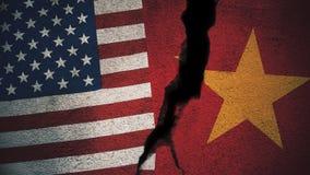 Vereinigte Staaten gegen Vietnam-Flaggen auf gebrochener Wand Lizenzfreie Stockfotografie