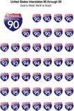 Vereinigte Staaten Interstates 90 bis 99 Stock Abbildung