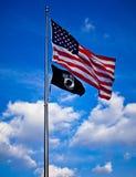 Vereinigte Staaten und POWMIA Markierungsfahnen, Washington DC Stockbilder