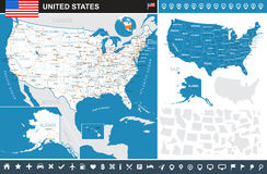 Vereinigte Staaten (USA) - infographic Karte - Illustration Stockfotografie