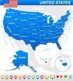 Vereinigte Staaten (USA) - Karte, Flagge und Navigationsikonen - Illustration Lizenzfreies Stockbild
