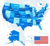 Vereinigte Staaten (USA) - Karte und Flagge - Illustration Lizenzfreie Stockfotografie