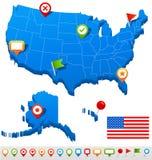 Vereinigte Staaten (USA) zeichnen und Navigationsikonen - Illustration auf Lizenzfreie Stockfotos