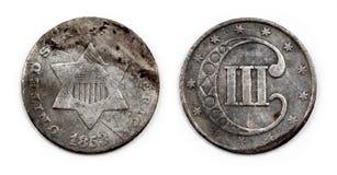 1853 Vereinigte Staaten versilbern die 3-Cent-Münze Lizenzfreies Stockfoto