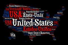 Vereinigte Staaten - Wortwolkenillustration lizenzfreie abbildung