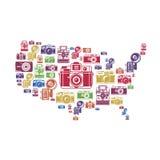 Vereinigte Staaten zeichnen mit Retro- Kameraikonen auf Lizenzfreie Stockfotografie