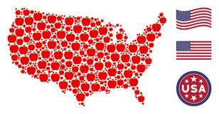 Vereinigte Staaten zeichnen stilisierte Zusammensetzung von Apple auf stock abbildung