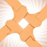 Vereinigter Team Hands Cooperation Figure Lizenzfreies Stockfoto