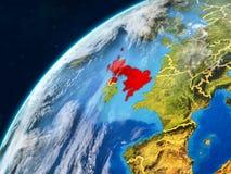 Vereinigtes Königreich auf Erde mit Grenzen stockfotografie