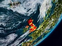 Vereinigtes Königreich auf Erde nachts Lizenzfreies Stockfoto