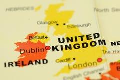 Vereinigtes Königreich auf Karte Lizenzfreies Stockbild
